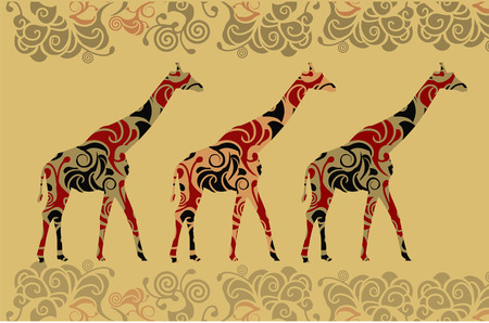 giraffes in the ethnic style of the various elements Vector