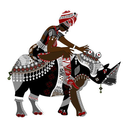 dexterity: Woman in ethnic style sits on the back of a rhinoceros