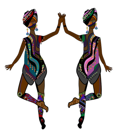 Women in ethnic style dancing beautiful dance on a white background Vector