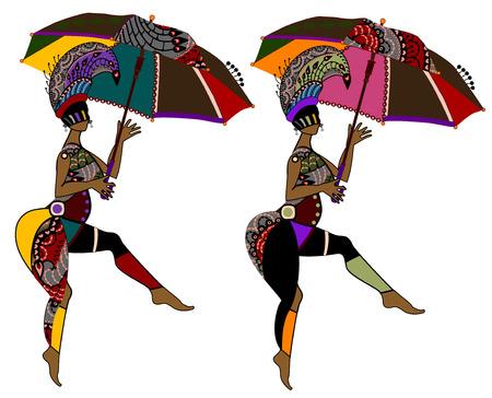 Mujeres de moda en estilo étnico sobre un fondo blanco  Vectores