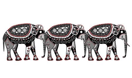 superstitious: modello di elefanti in stile etnico con sfondo bianco