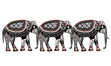 superstitions:  pattern of elephants in the ethnic style with a white background