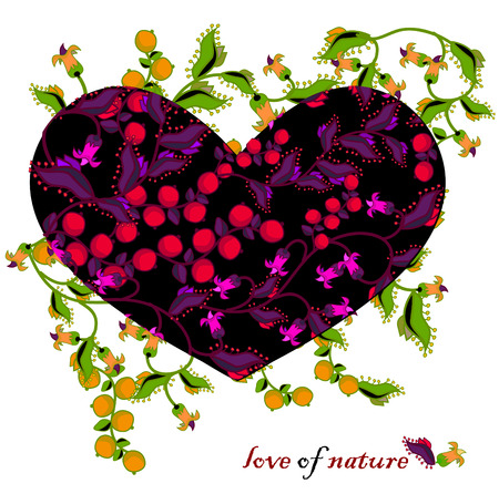 expresses: love of nature with flowers and berries in ethnic style