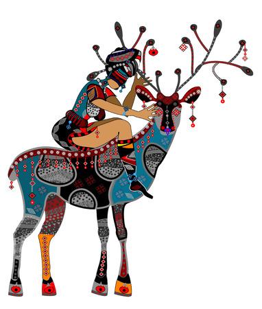 Mujer en estilo étnico se sienta en la parte posterior de un ciervo