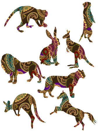hinduismo: conjunto de animales en el estilo �tnico con un fondo blanco  Vectores