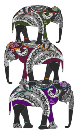 Elephants in the ethnic style stand on the backs of each other Stock Vector - 8041563