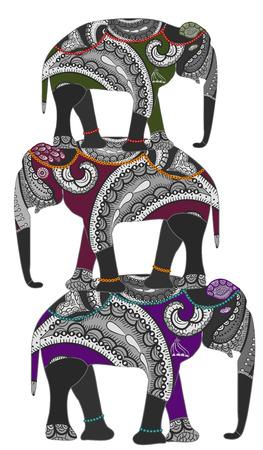 dangerous love: Gli elefanti in stile etnico stanno sulle spalle di ogni altro  Vettoriali