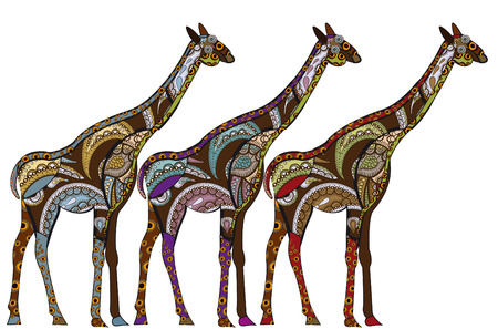 patterned giraffe in ethnic style with a white background