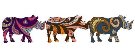 entramado rhino étnica en estilo étnico con un fondo blanco