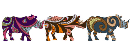 patterned ethnic rhino in ethnic style with a white background