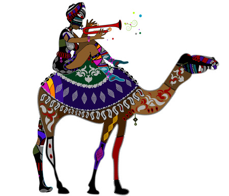 Woman in ethnic style sits on the back of a camel
