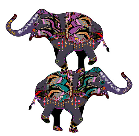 Elephants in the ethnic style with a white background