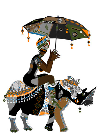 Mujer en estilo étnico con un paraguas en su mano sobre su espalda rhino