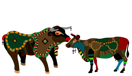 cow and bull in the ethnic style on a white background Vector