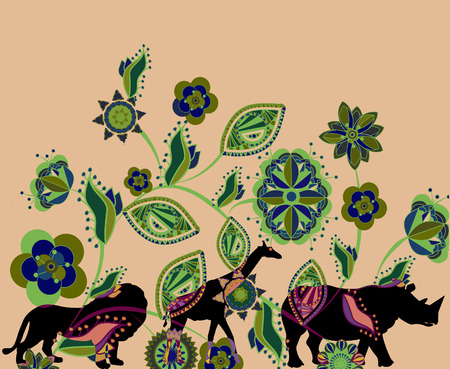 ethnics: floral background of the various components conveys the beauty of nature in Africa