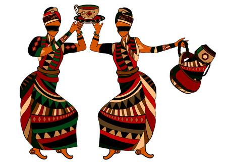 ilustraciones africanas: mujeres en el estilo �tnico de beber t� sobre un fondo blanco