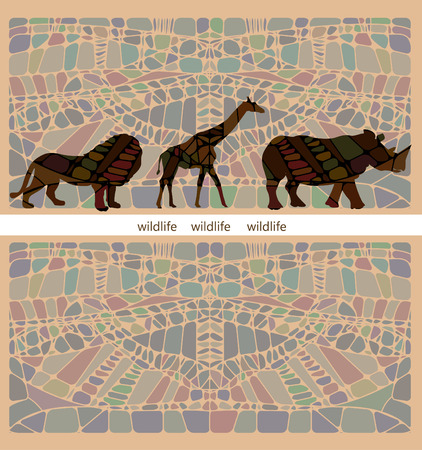 beautiful background of the various components conveys all the beauty and wildness of Africa Vector