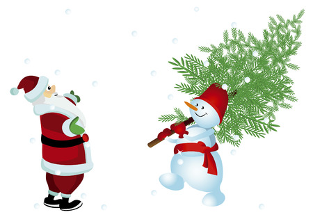 Santa very happy gift, which brought him a snowman Stock Vector - 8154833