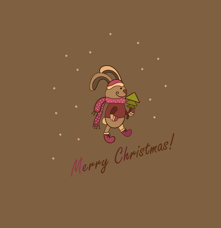 nice background with a rabbit and a small tree Vector