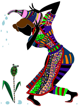 garden maintenance: abstract woman pouring from his pitcher plant, in ethnic style