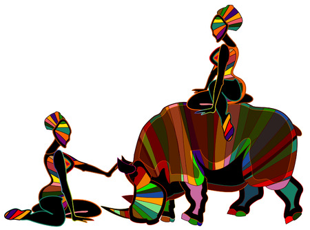 two girls play with wild animals on a white background Vector