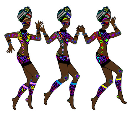 Women in ethnic style fun dancing on a white background Vector