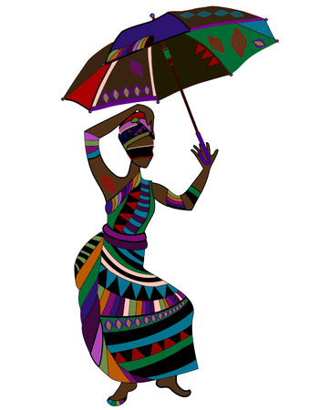 fashionable woman in ethnic style with an umbrella in his hand Stock Vector - 8435247