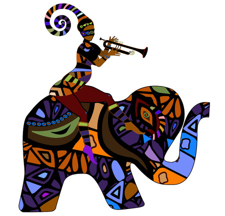 people sitting on the back of an elephant in ethnic style Vector