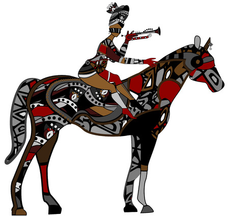 woman sits on the back of a horse on a white background Vector
