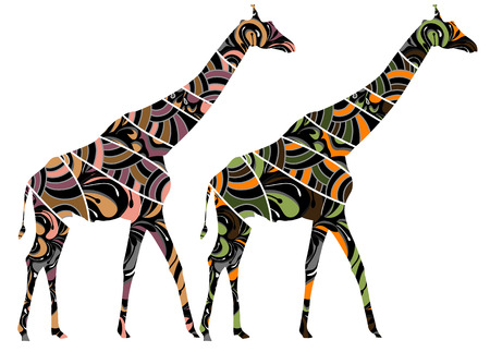 patterned giraffe in ethnic style with a white background Vector