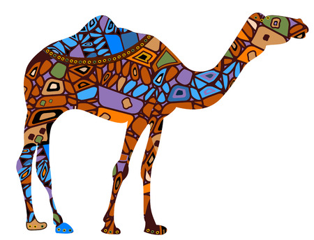 camel in the ethnic style is a symbol of business success Ilustrace