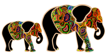 family of elephants from the color elements on a white background