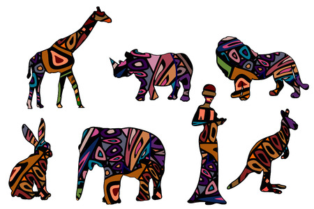 wildlife preserve: African symbols of various elements on a white background