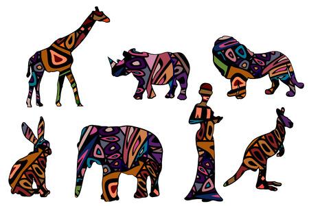 Símbolos africanos de varios elementos en un fondo blanco