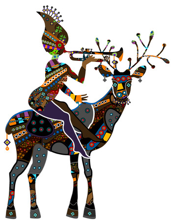 woman sitting on the back of a reindeer in vintage style Vector
