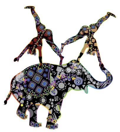 entertainer: Two patterned acrobat performing a trick on the back of an elephant patterned in ethnic style