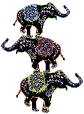 hinduismo: Tres elefantes indios hermosos realizan acrobacias de circo en estilo �tnico Vectores