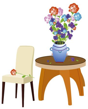 red couch: atmosfera romantica con un vaso di fiori e mobili