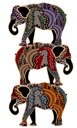 circus elephants in the ethnic style stand on the backs of each other Vector