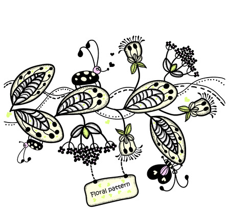 Good floral pattern with beetles and butterflies Stock Vector - 8917148