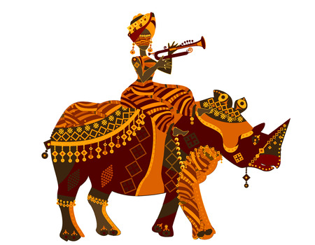 woman and arhino in the ethnic style with a white background Vector