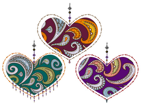 love symbol: lacy valentine from various elements in the ethnic style