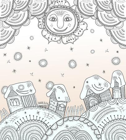 安らぎ: 太陽と住宅と背景
