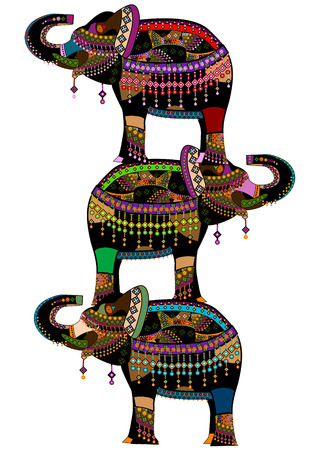 animales de circo: elefantes es un buen car�cter �tnico en diferentes religiones Vectores