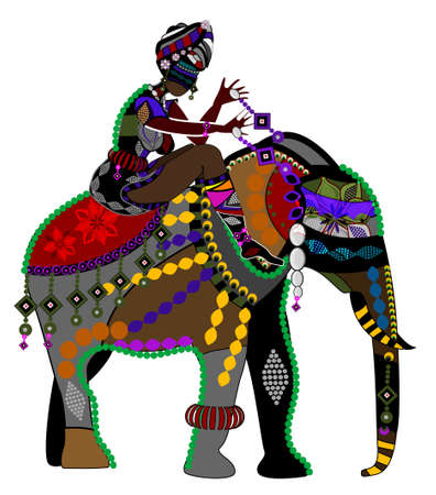 ethnicities: woman and the elephant in the ethnic style on a white background Illustration