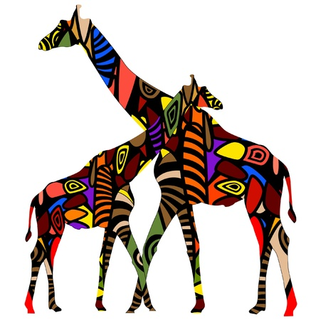 giraffes in ethnic style consists of various elements