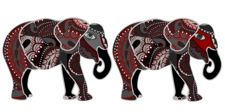 Indian elephants in the ethnic style of standing on a white background Vector