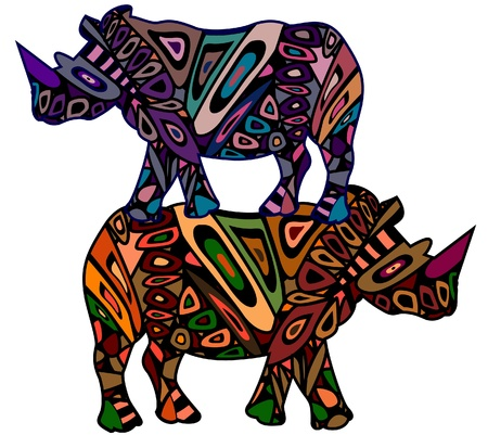 two rhinoceros in ethnic style is a symbol of riches Vector