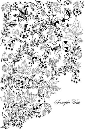 zwart wit tekening: Floral achtergrond van de verschillende elementen in vintage stijl Stock Illustratie