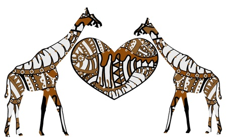 giraffes and heart in ethnic style on a white background Ilustração